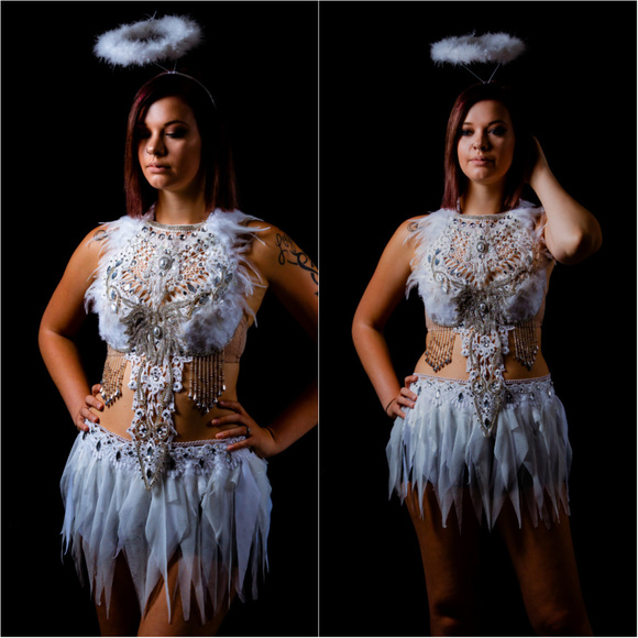 435df49204 White Lace Rhinestone Feather Angel Bra and Skirt